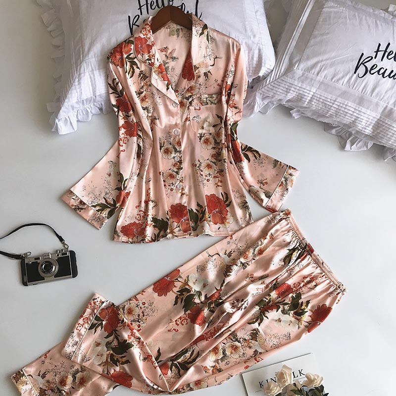Spring And Autumn Pajamas Women's Suit Chinese Silk Long-Sleeved Suit High-End Home Service