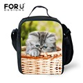 FORUDESIGNS New Cute Animal Cat Dog Printing Lunch Bag for Women Kids Insulated Lunch Box Thermal Picnic Children Food Bag Bolsa