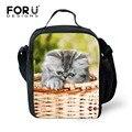 Forudesigns novo animal bonito do gato do cão impressão lunch bag para mulheres Crianças Duplas Lunch Box Picnic Térmica Crianças Saco de Comida Bolsa