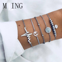 MLING 5 Pcs/Set Fashion Electrocardiogram world Map Heart Bracelet For Women Crystal Multilayer Female Party Jewelry