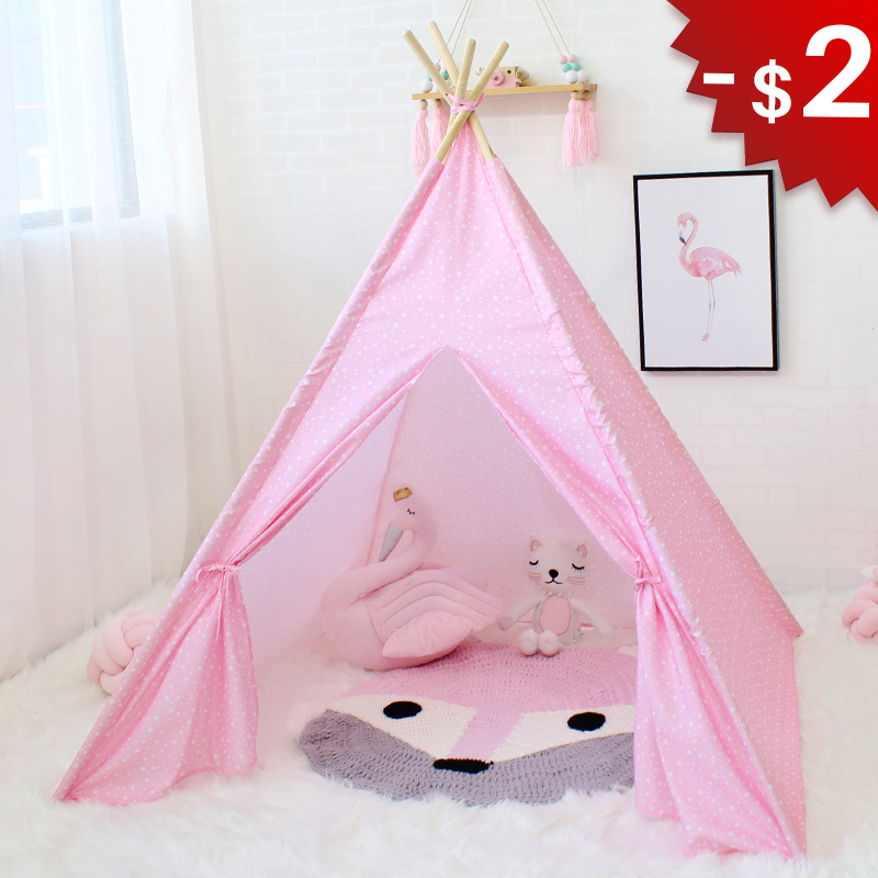 Star Wigwam Baby Teepee Tent Child Cloth Tipi for Children Play Room Game House for Kids