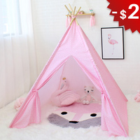 Star Wigwam Baby Teepee Tent Child Cloth Tipi for Children Play Room Game House for Kids Girl Boy Toys Photography Props 4 Poles