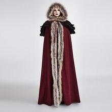 цены на PUNK RAVE Women Cloak Gothic Winter Palace Cosplay Jacket Cape Wool Hooded Callor Sleeveless Long Cloak Cape Coat  в интернет-магазинах