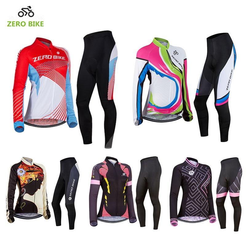 ZEROBIKE New Cycling Jersey Sets Women's Sportswear Bicycle Pants Long Sleeve Shirts Ropa Ciclismo MTB Bike Clothing USA Size стоимость