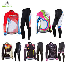 ZEROBIKE New Cycling Jersey Sets Women's Sportswear Bicycle Pants Long Sleeve Shirts Ropa Ciclismo MTB Bike Clothing USA Size