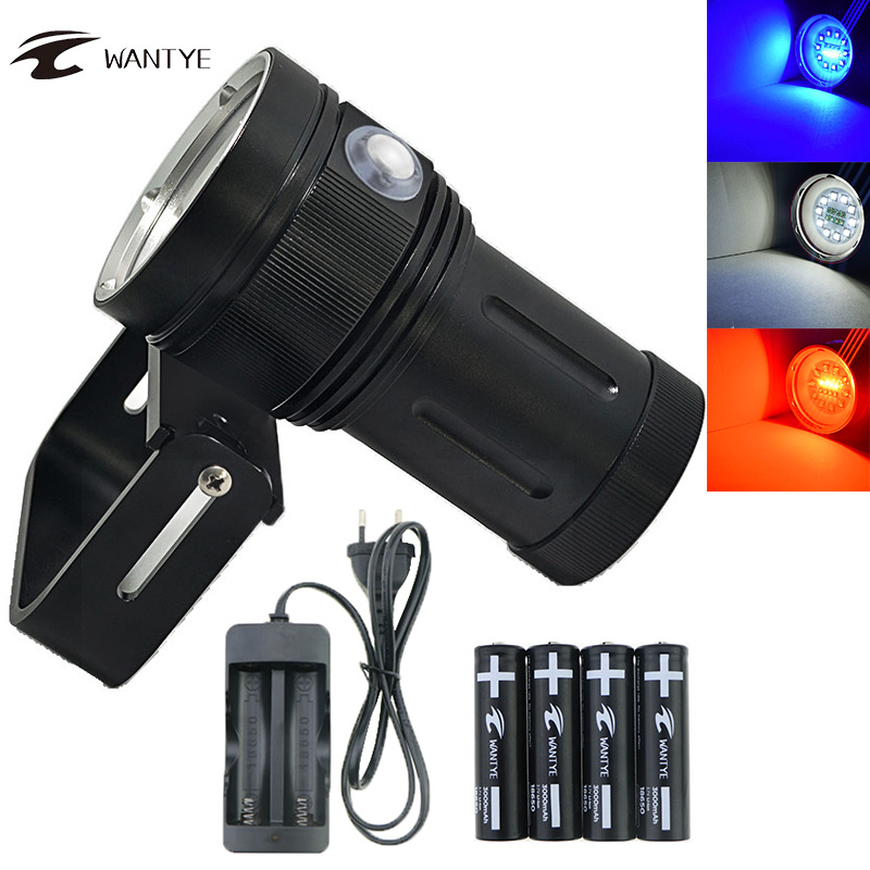 Powerful Diving Flashlight Torch LED 10*XML L2+4 Red+4 UV Light Underwater 100M Video Diving Flash light Lamp Scuba Dive Light