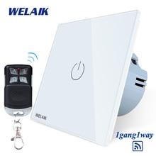 цена на WELAIK Glass Panel Switch White Wall Switch EU remote control Touch Switch  Light Switch 1gang1way AC110~250V A1913XW/BR01