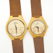Pair watch for  men and women couple watch bamboo wood watches Miyota 2035 movement wristwatches genuine leather for lovers