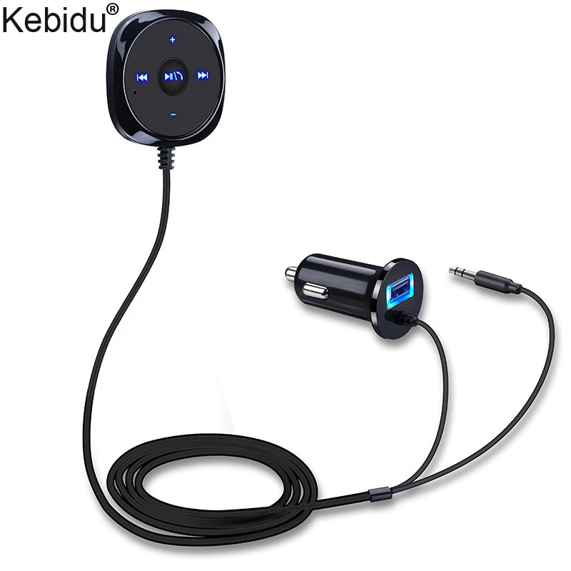 Kebidu Magnetic Base Handsfree Bluetooth Car Kit MP3 A2DP 3.5mm AUX Audio Music Receiver Adapter USB Charger For iphone Android