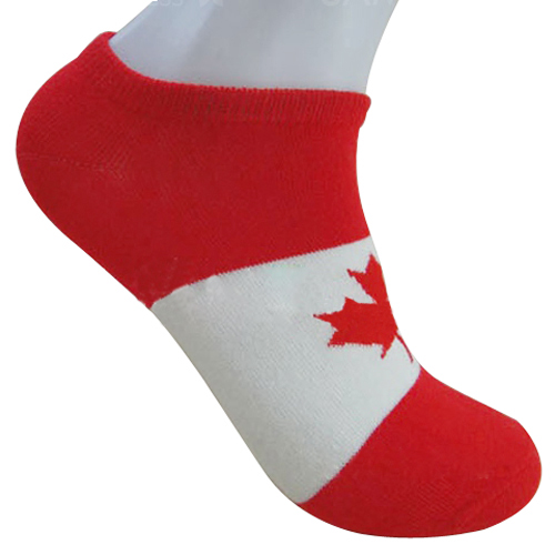 HOT Pair Of Red & White Fashion Maple Leaf Canada Flag Pattern Socks For Men