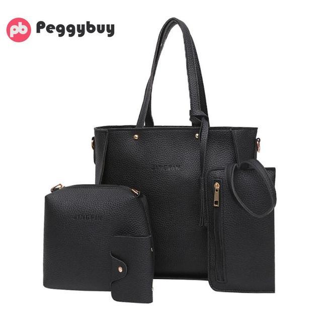 4PCS Women's Bag Set Litchi...