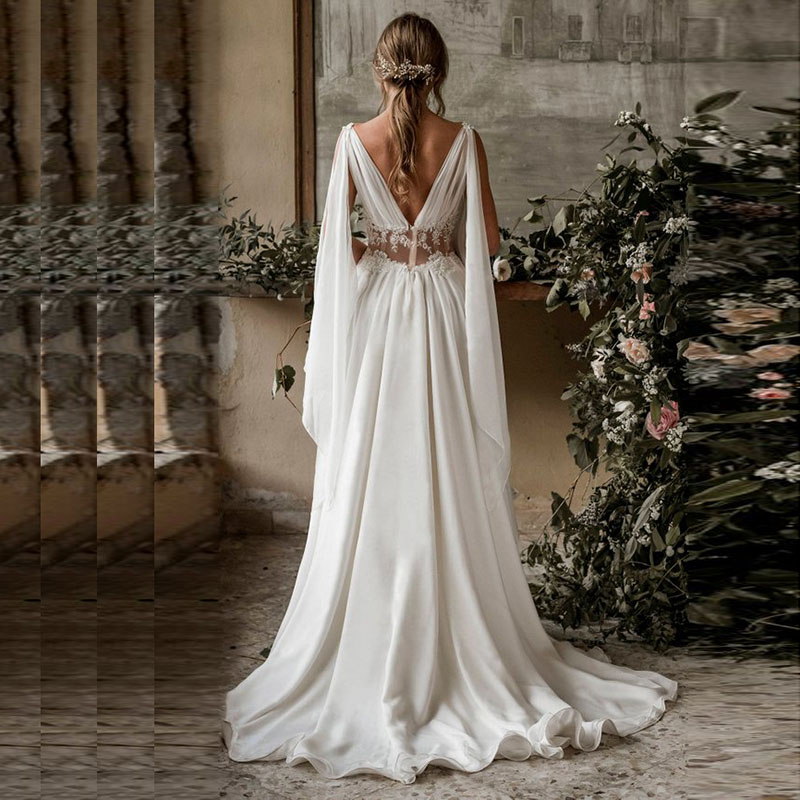 Eightree Chiffon Wedding Dress Sweep Train Bride Dress A line Wedding Dresses Deep V Neck Arabic Wedding Gown vestido de noiva in Wedding Dresses from Weddings Events