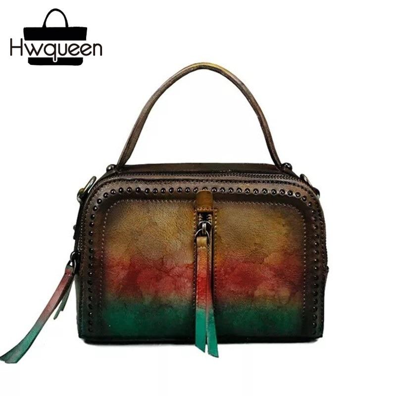 все цены на Unique Hand Painting Colorful Designer Genuine Cow Leather Ladies Girls Shoulder Messenger Bag Studs Purse Female Small Handbag онлайн