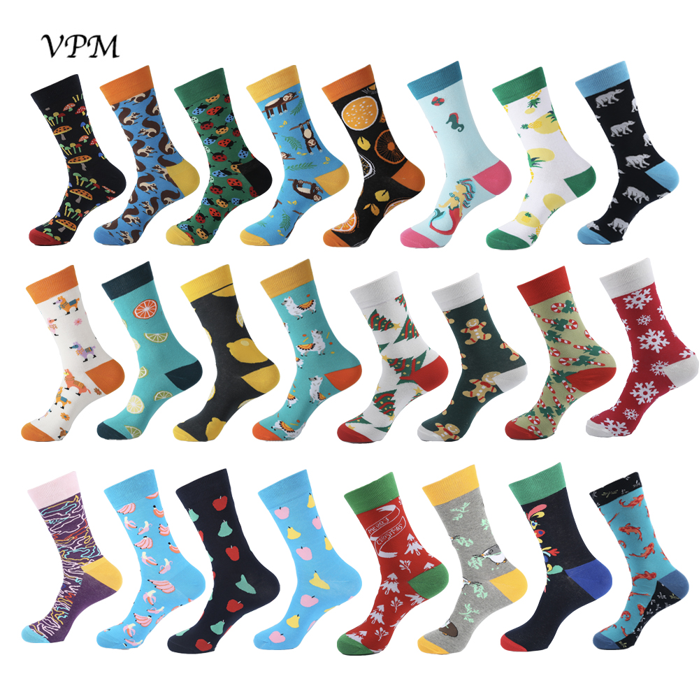 VPM New Colorful Cotton Happy Men's Crew Socks Harajuku Hip Hop Funny Fruit Dressing Business Socks For Male Christmas Sox