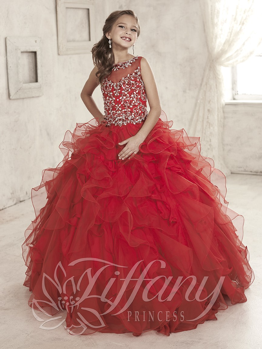 Custom Made Burgundy Sheer Neckline Ball Gown Kids Cute Pageant   Dresses   Cheap   Flower     Girl     Dress   New Arrival