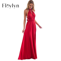 ABOUTTHEFIT Sexy Women Boho Maxi Dress Red Bandage Long Dress Sexy Multiway Bridesmaids Convertible Dress Robe