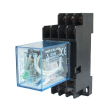 MY4NJ DC 24V Coil Power Relay DIN Rail Mounted 14 Pin 4PDT w Socket 10 sets free shipping ly4nj hh64p dc24v 14pin 10a power relay coil 4pdt with ptf14a socket base