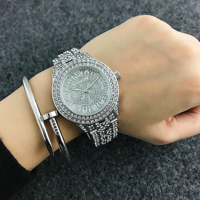 CONTENA Shiny Diamond Watch Luxury Rhinestone Bracelet Watch Women Watches Full Steel Fashion Women's Watches Clock reloj mujer