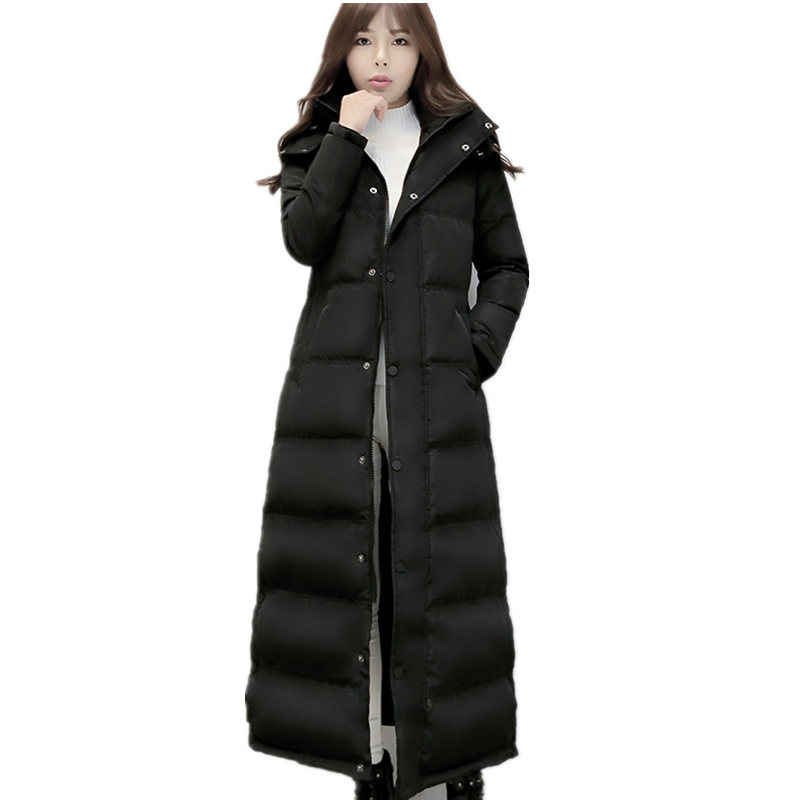 Women's Down Jacket X-Long Black   Parka   Thicken Winter Jacket Women Hooded Manteau Femme White Duck Down   Parkas   Coat Women C3756