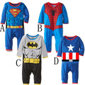 Superman Spiderman capitán américa ropa escalada mono ropa del bebé del mameluco