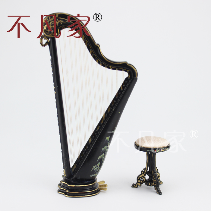 ФОТО Doll house 1/12th Scale Miniature furniture Black hand painted Harp and stool set