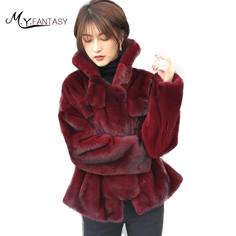 M. Y. FANSTY 2017 Inverno Casaco de Vison Real Natural Casaco De Pele Longo Perda de Bolso manga Causal Mulheres De Importação De Vinho De Veludo Vermelho Vison casacos