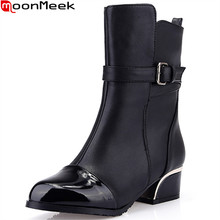 MoonMeek black blue wine red women boots square heel autumn winter ladies boots buckle pointed toe ankle boots big size 33-43