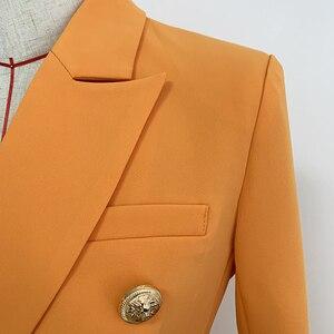 Image 4 - Женский двубортный Блейзер на пуговицах, оранжевый облегающий блейзер в стиле барокко, 2020