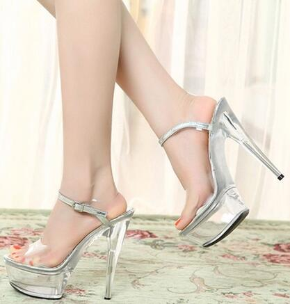 Sexy women clear transparent open toe high heel sandals Female open toe super high spike heel shoes Party shoes Ladies sandals taoffen women high heel sandals buckle open toe mixed color genuine leather ladies shoes sexy sandals party footwear size 33 40