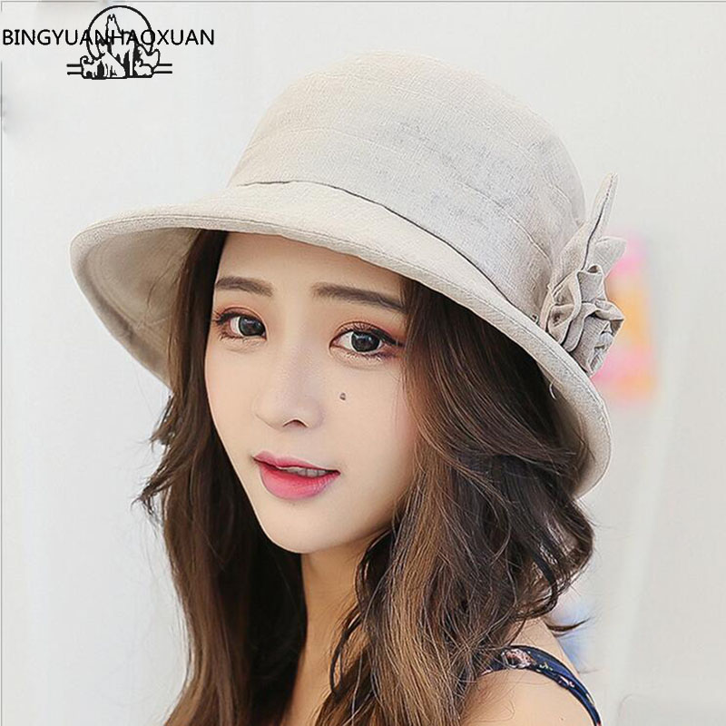 BINGYUANHAOXUAN Brand 2018 New Women Linen Sun Hat Summer Flower Bucket UV Cape Feminino Praia Hat Woman Packable Fashion Elegan
