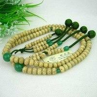 The wonderful lotus beads / Japanese Nichiren / the Bodhi 8*11mm/ Green Aventurine three hole