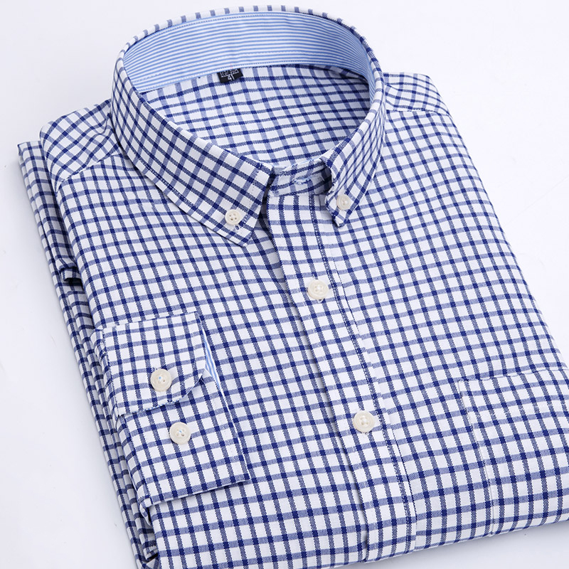 MACROSEA Men's Dress Oxford Shirts Spring&Autumn Plaid\Striped Smart Casual Shirts Male Fashion Button-Down Collar Shirt