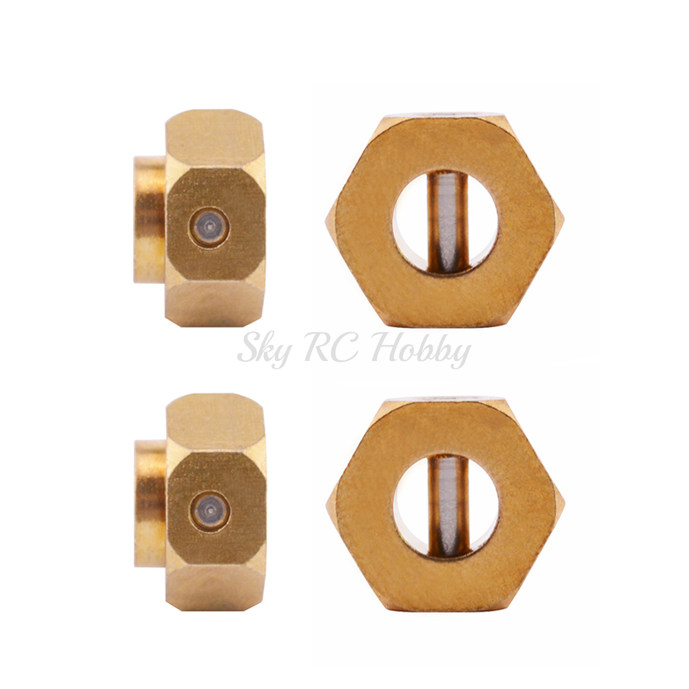 4pcs/lot Heavier Brass 12MM <font><b>Wheel</b></font> Hex Extended Adapter 5/6/8/9/10/12mm for Traxxas TRX-4 Scale Trail Axial SCX10 RC 1/10 Crawler image