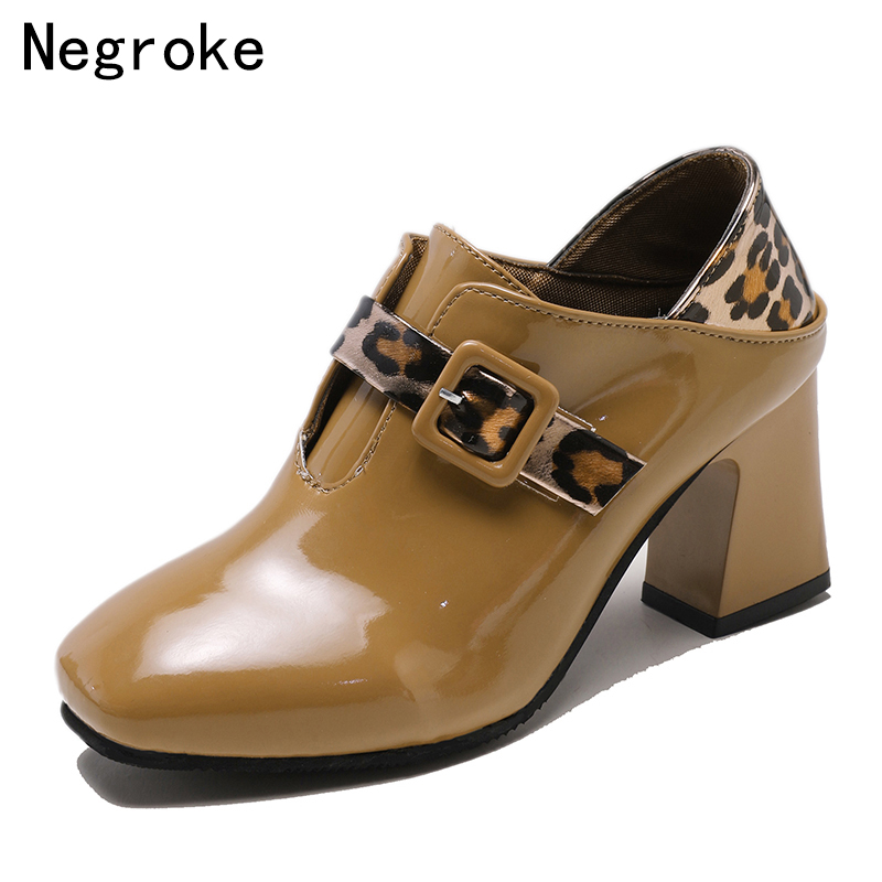 Sexy Square Heels Women Shoes 2019 New Spring PU Leather Women Pumps High Heels Party Wedding Zapatos Mujer