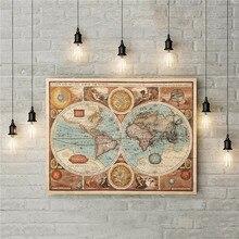 Cuadro de Mapa del viejo mundo Vintage lienzo pintura cuadro de pared moderno para sala de estar sin marco estampado de arte decorativo Póster