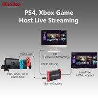 MiraBox USB3.0 HDMI Youtube устройства захвата для PS3 игры потоковое поток трансляции 1080 P 60FPS HDMI Youtube захвата