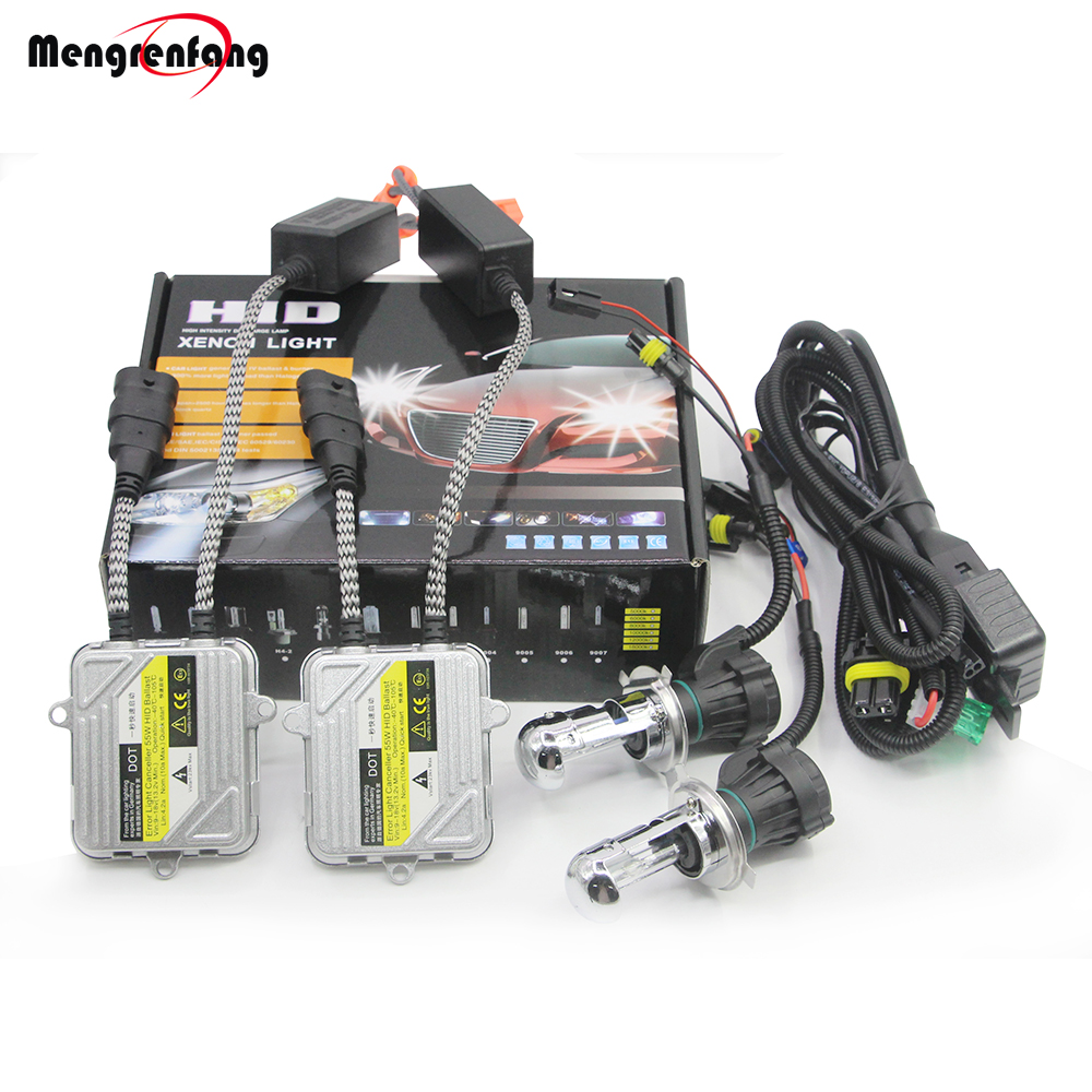 <font><b>H4</b></font> <font><b>H4</b></font>-3 Hi/Lo Bi <font><b>Xenon</b></font> Light HID <font><b>Kit</b></font> Bulb + Ballast + Harness Wire 55W 4300K-<font><b>10000K</b></font> 12V Car Light Headlight High Low Beam image