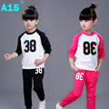 A15 Girl Outfits Clothes 2017 2pc Spring Autumn Children Clothing Set Girl Sports Suit Toddler Kids Tracksuit Size 5 6 8 10 Year
