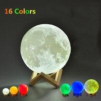 16 Colors 12cm 15cm 18cm 20cm 3D Print Moon Lamp Round Ball Night Light With Remote