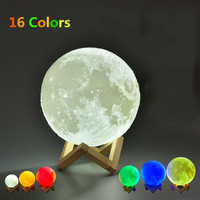 16 Colors 12cm 15cm 18cm 20cm 3D Print Moon Lamp Round Ball Night Light With Remote