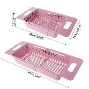 Image 3 - Fregadero ajustable, estante de secado de platos, organizador de cocina, fregadero de plástico, escurridor de verduras, soporte de frutas, estante de almacenamiento