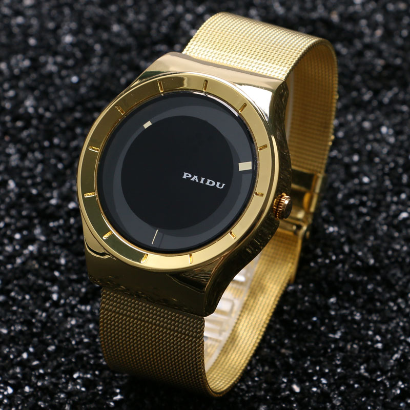 PAIDU Women Men Super Fashion Luxury Style Turntable Wrist Watch Golden Steel Mesh Band Lover's Couples Gift  Reloj