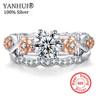 YANHUI Original Creative Gift Jewelry Ring 925 Sterling Silver Wedding Rings Natural Zirconia Gold Color Fashion