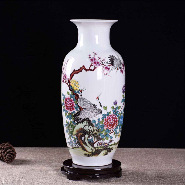 Jingdezhen blanc en céramique Vase poterie décoration chinois peintures Vase fleur Vase Arrangement fleur moderne décoration de la maison