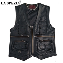 LA SPEZIA Multi Pocket Vest Men Black Photography Vests Genuine Leather Motorcycle Biker Waistcoat Male Autumn Sleeveless Jacket
