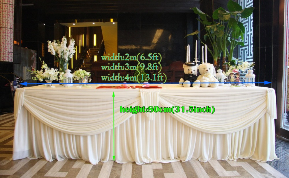 Wedding Supplies White Luxury Table Skirt With Drape For