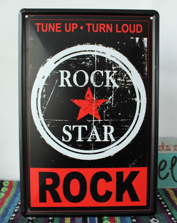 Direct selling YBY057 ROCK STARTin sign tinplate vintage metal painting for home bar pubs decoration 20x30cm