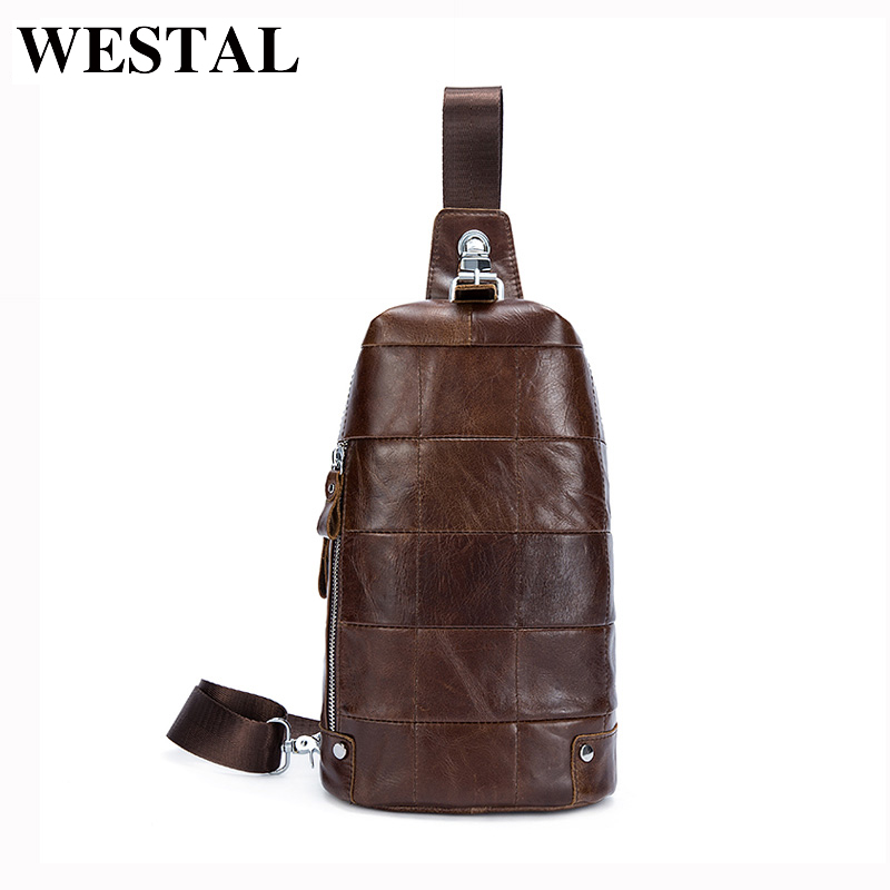 WESTAL Genuine Leather Men Bag Men Crossbody Bag Messenger Bags Small Belt Waist Pack Casual Travel Shoulder Bags Handbag 365 brand logo new multifunctional genuine leather waist pack for men women bags travel belt bag money pouch