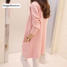 Free Shipping 2019 Spring and Autumn Women's Top Medium-long Cardigan Outerwear Sweater Knitted Cardigan female Sweaters