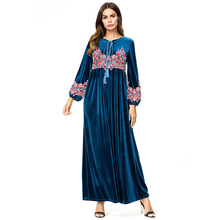 Women Warm Dress Casual Solid Long Sleeve Vintage Maxi Robe O-Neck Elegant Vestidos Female Body 7301